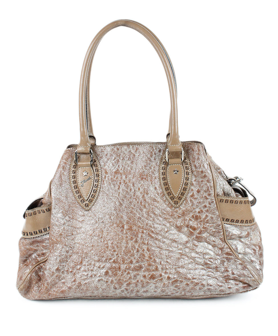 Fendi Taupe Silver Leather Bag - Michael's Consignment NYC  - 1