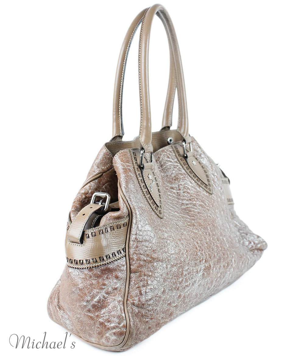 Fendi Taupe Silver Leather Bag - Michael's Consignment NYC  - 2