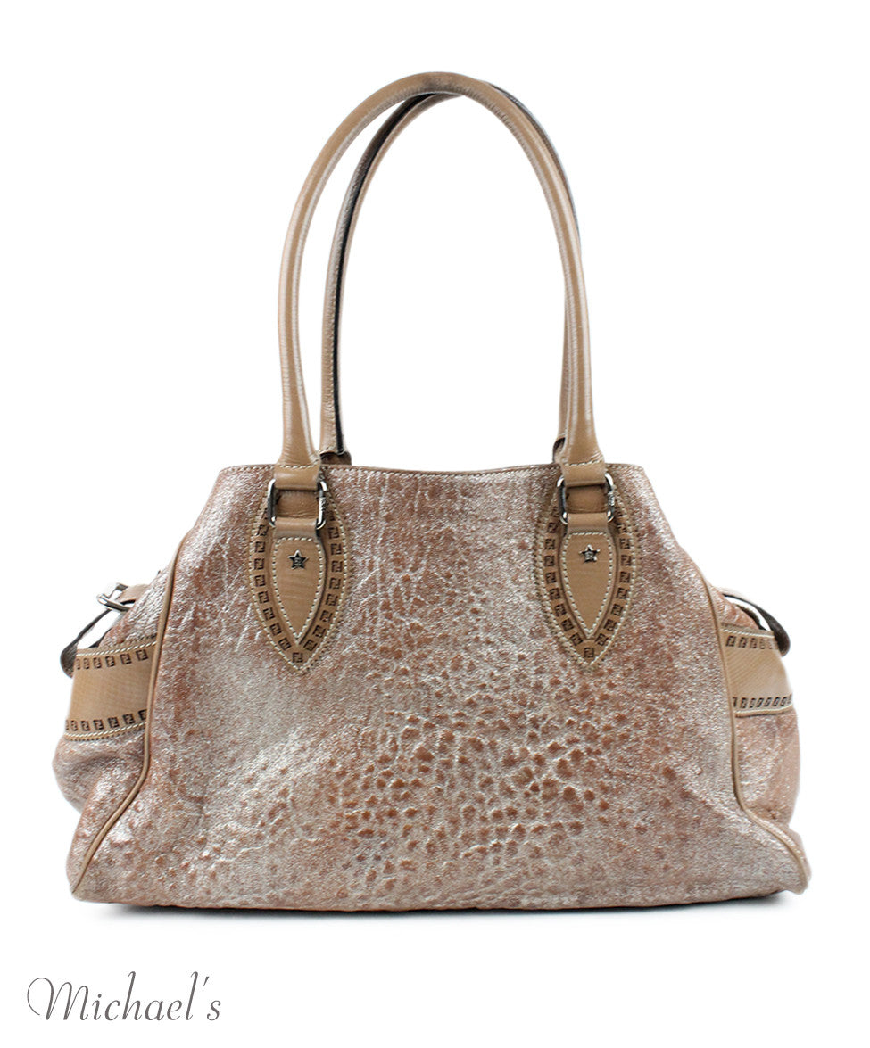Fendi Taupe Silver Leather Bag - Michael's Consignment NYC  - 3