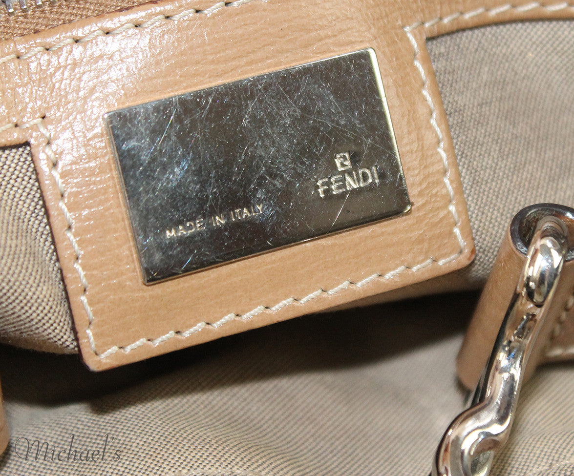Fendi Taupe Silver Leather Bag - Michael's Consignment NYC  - 6