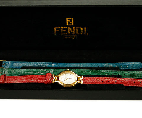 Fendi Watch with Red Green Blue Straps 1