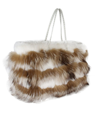 Fendi White Tan Fur Rabbit Fox Tote 1