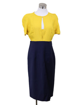 Fendi Yellow Navy Rayon Dress