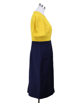 Fendi Yellow Navy Rayon Dress 1