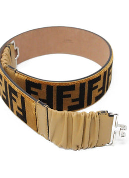 "Fendi ""Zucca FF"" Brown Tan Velvet Leather Belt 1"