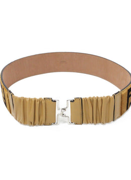 "Fendi ""Zucca FF"" Brown Tan Velvet Leather Belt 2"