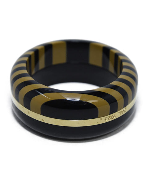 Fendi Black Beige Plastic  Gold Trim 3 pc. Bracelet 3