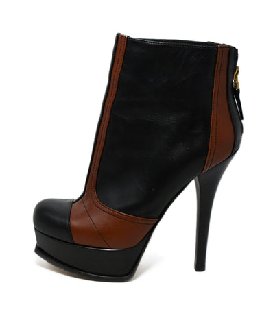 Fendi Black Brown Leather Booties 1