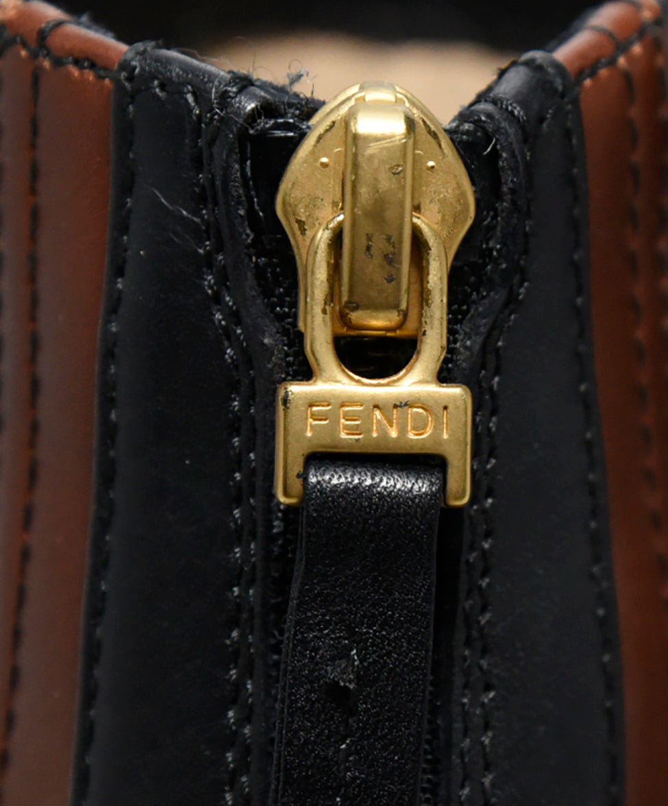 Fendi Black Brown Leather Booties 8