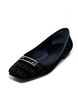 Fendi Black Brown Velvet Monogram Flats 1