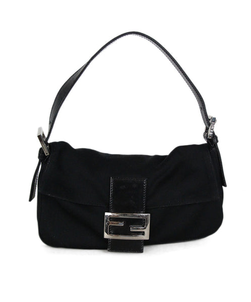 Fendi black fabric baguette bag 1