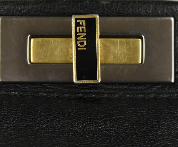 Fendi Peek-A-Boo Black Leather Satchel Handbag 9