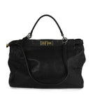 Fendi Peek-A-Boo Black Leather Satchel Handbag 3