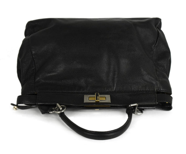 Fendi Peek-A-Boo Black Leather Satchel Handbag 5
