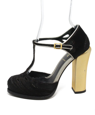 Fendi black satin cutwork heels 1