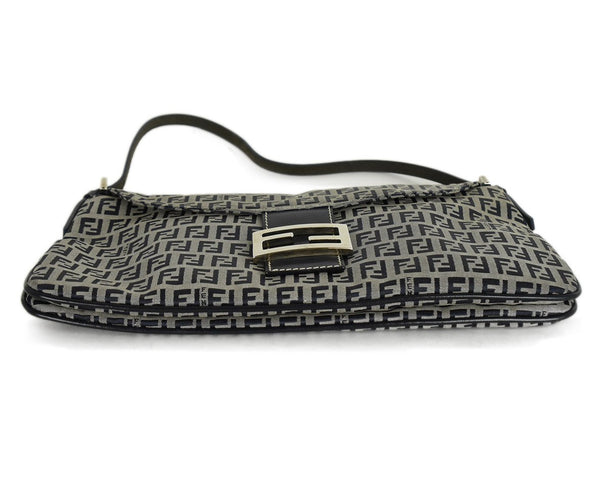 Fendi Blue Grey Monogram Canvas Leather Shoulder Bag Handbag | Fendi