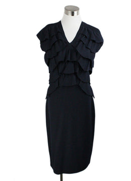 Fendi Blue Fleece Navy Wool Ruffle Dress 1