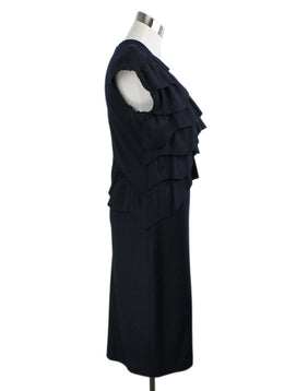 Fendi Blue Fleece Navy Wool Ruffle Dress 2