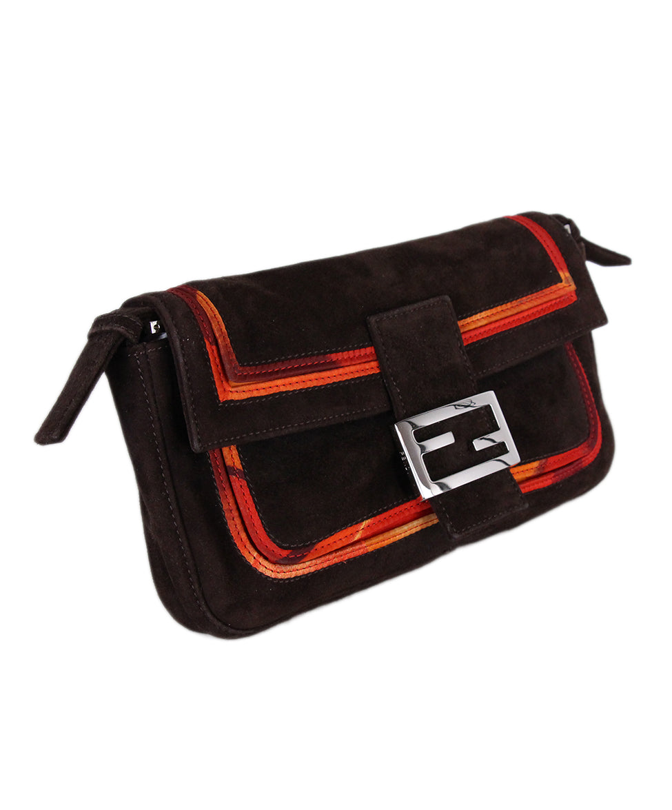 Fendi brown Suede orange Trim Handbag 3