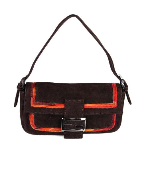 Fendi brown Suede orange Trim Handbag 1