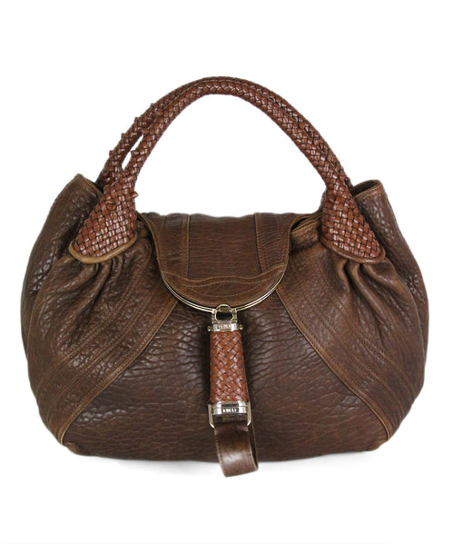 "Fendi ""Spy"" Brown Leather Woven Trim Handbag 1"