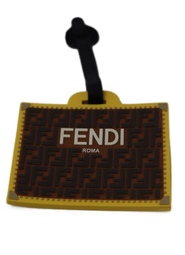 Fendi Brown Yellow Rubber Bag Tag 1