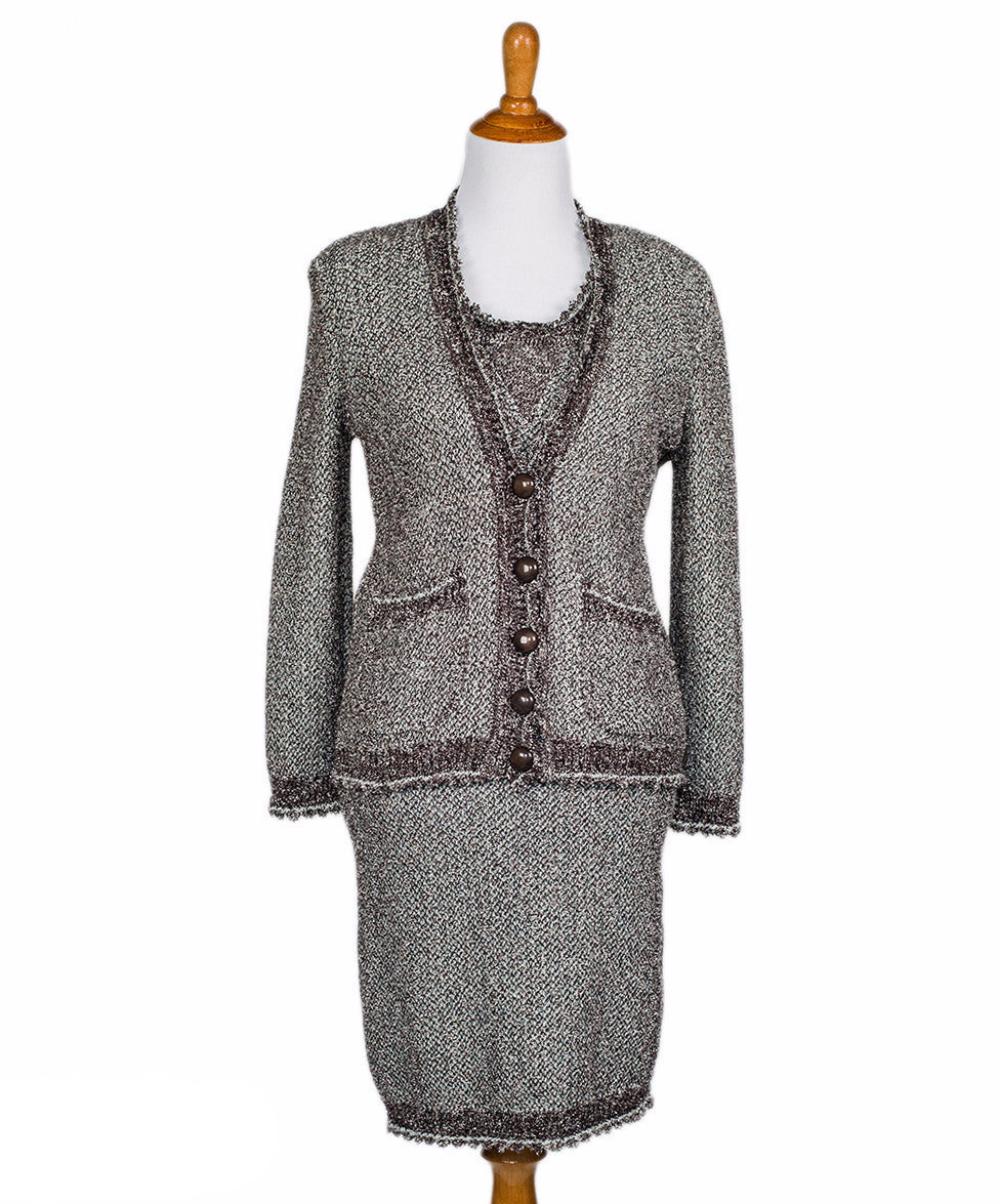 Fendi 2pc Brown Sage Lurex Cotton Dress Suit Sz 38 - Michael's Consignment NYC  - 1
