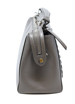 Satchel Silver Hardware Zipper Fendi Grey Leather W/Strap W/Pouch Handbag