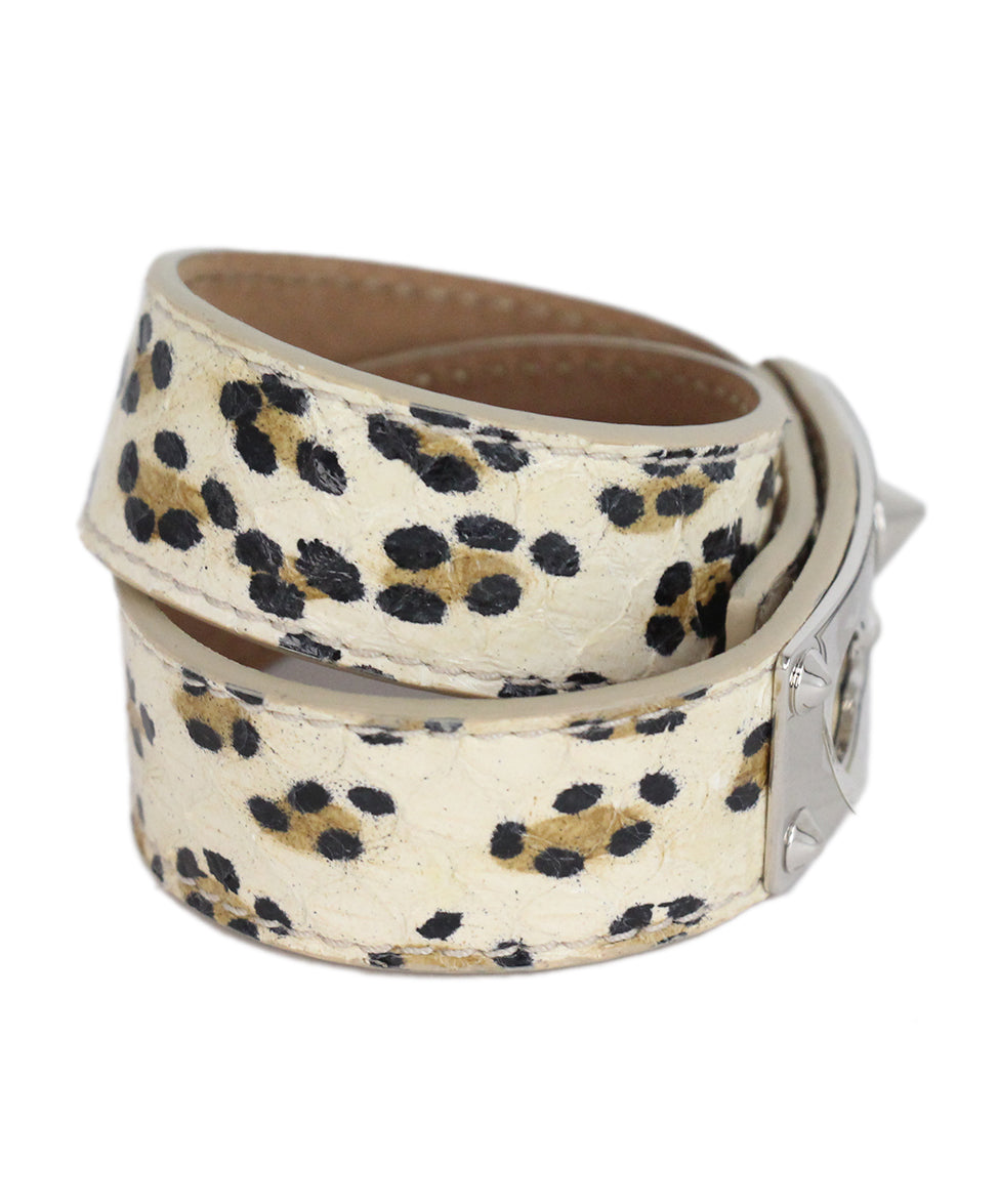 Fendi ivory animal print leather bracelet 2