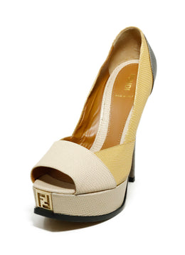 Fendi Platform Shoe Size US 9 Metallic Gold Beige Pewter Leather Shoes 1