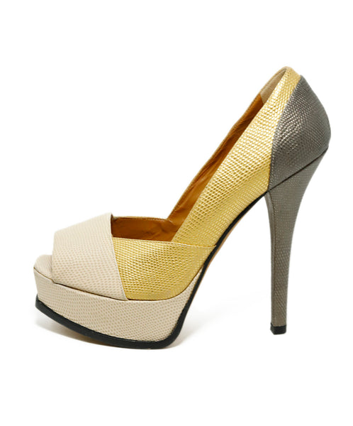 Fendi Platform Shoe Size US 9 Metallic Gold Beige Pewter Leather Shoes 2