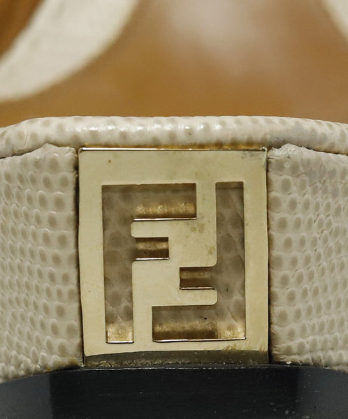 Fendi Platform Shoe Size US 9 Metallic Gold Beige Pewter Leather Shoes 7