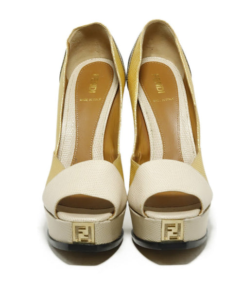 Fendi Platform Shoe Size US 9 Metallic Gold Beige Pewter Leather Shoes 5