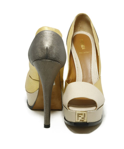 Fendi Platform Shoe Size US 9 Metallic Gold Beige Pewter Leather Shoes 3