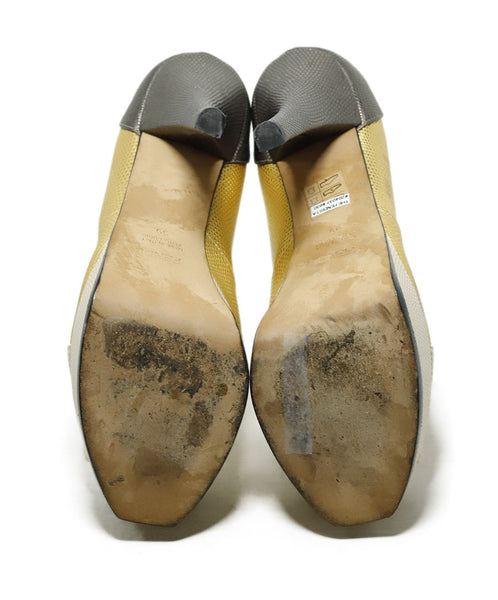 Fendi Platform Shoe Size US 9 Metallic Gold Beige Pewter Leather Shoes 4