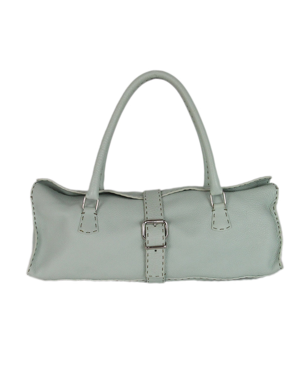 bb9aeb42d21e Shoulder Bag Silver Hardware Buckle Suede Fendi Green Mint Leather ...