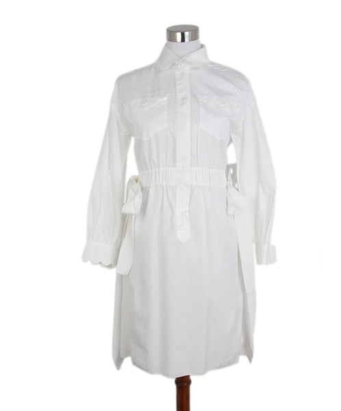 Fendi white cotton scallop trim dress 1