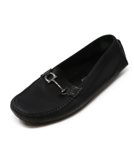 Prada Black Leather Flats Sz. 38.5