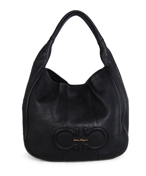 Ferragamo Black Leather Hobo Bag 1