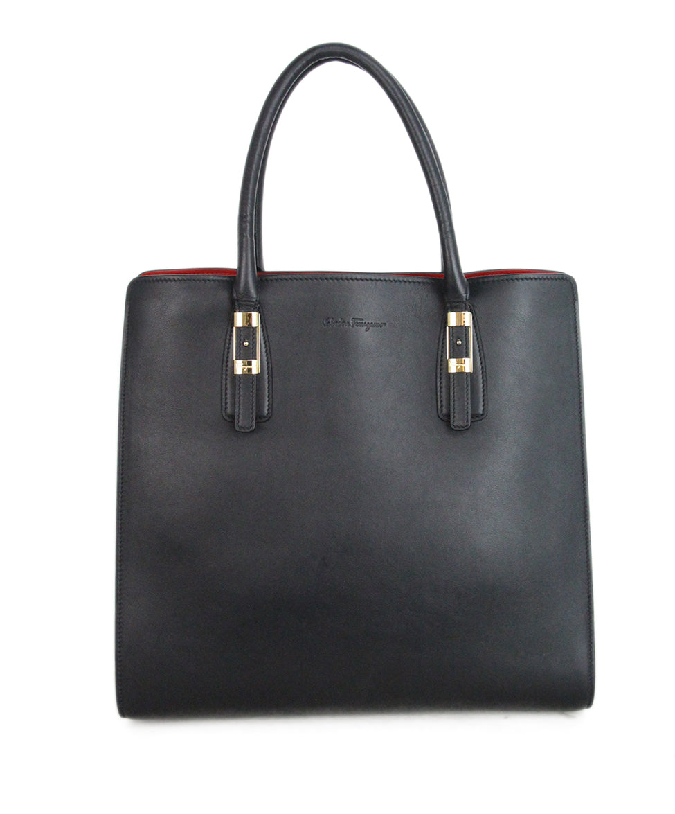 Ferragamo Black Leather Tote red lining 1