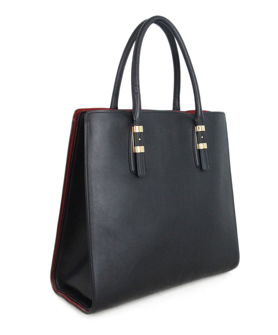 Ferragamo Black Leather Tote red lining 2