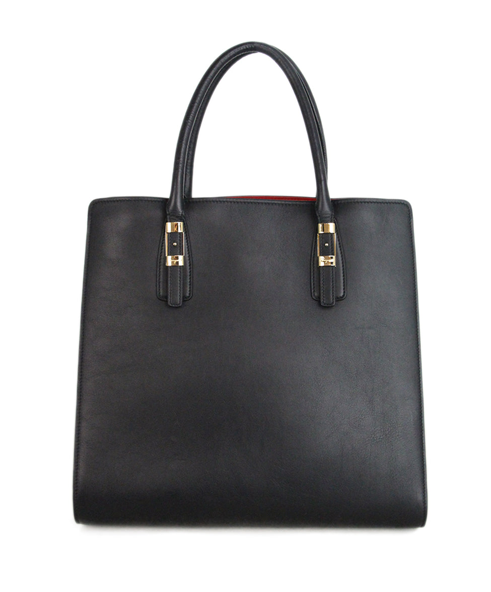 Ferragamo Black Leather Tote red lining 3