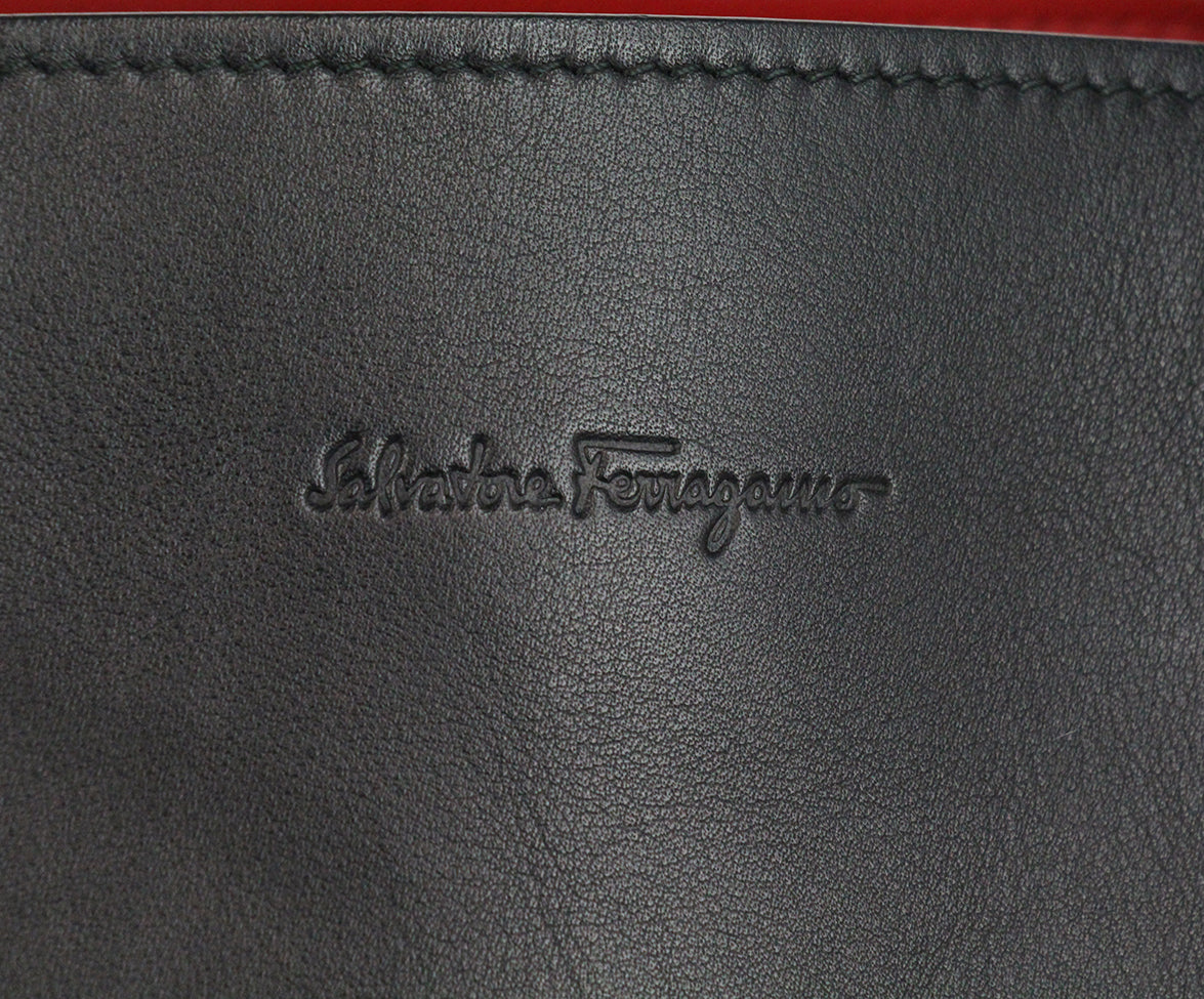 Ferragamo Black Leather Tote red lining 7