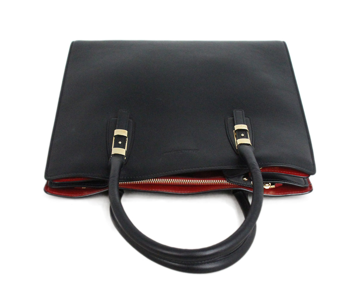 Ferragamo Black Leather Tote red lining 5