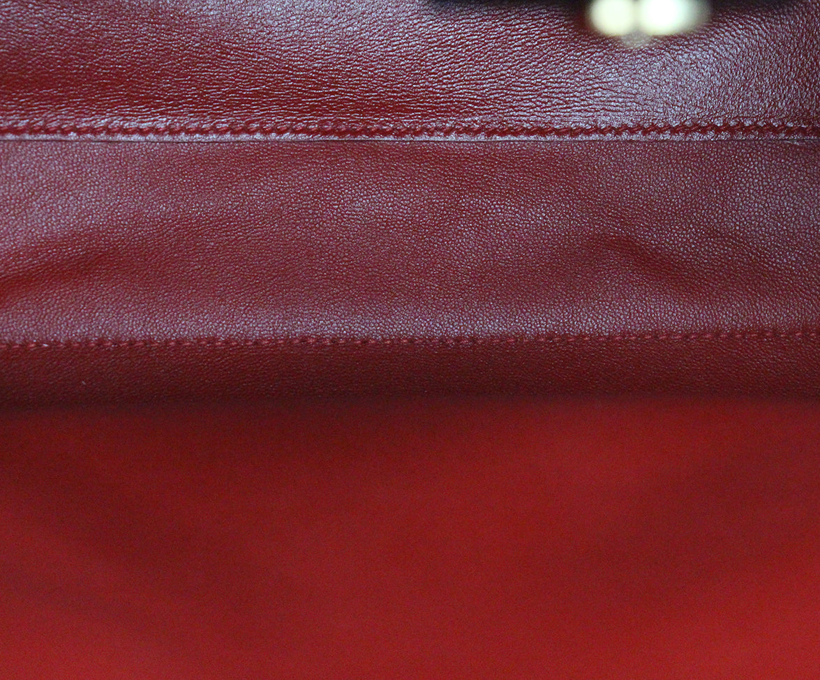 Ferragamo Black Leather Tote red lining 6