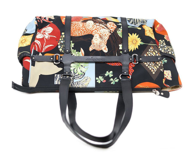 Ferragamo Black Multi Print Nylon Satchel