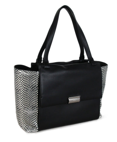 Ferragamo Black White Leather Snake Skin Tote 1