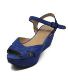 Ferragamo Blue Suede Black Piping Sandals 1