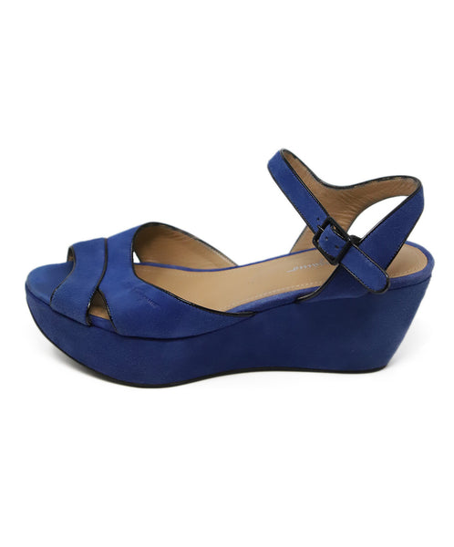 Ferragamo Blue Suede Black Piping Sandals 2