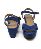 Ferragamo Blue Suede Black Piping Sandals 3